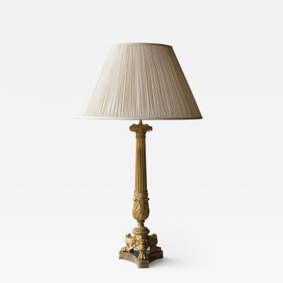 GILT BRONZE RESTAURATION CANDELABRA CONVERTED TO A TABLE LAMP