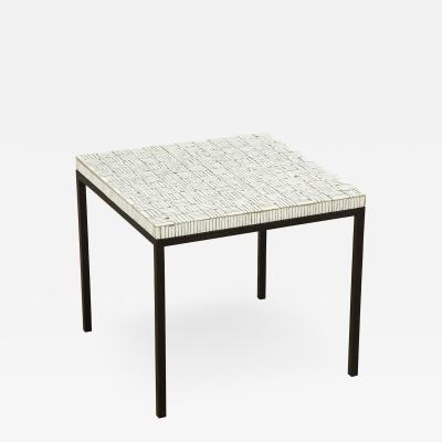 GLASS TILE TOP TABLE ON IRON BASE