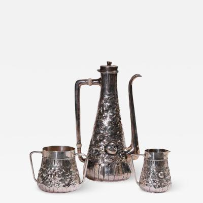 GORHAM REPOUSSE SILVER COFFEE SET 19TH CEN
