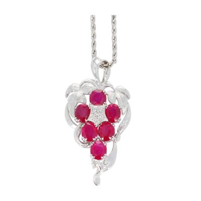 GRAPE STYLE 7 45 CARATS 6 OVAL RUBY PENDANT WITH DIAMONDS PLATINUM AND 18K GOLD
