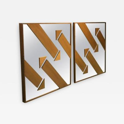 GREAT PAIR OF MODERNIST WOOD ARROW MIRRORS