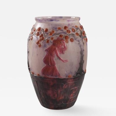 Gabriel Argy Rousseau French Art Deco P te de Verre Glass Vase by Gabriel Argy Rousseau