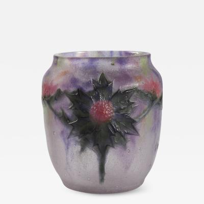 Gabriel Argy Rousseau French Art Nouveau Chardons P te de Verre Vase by Roussea