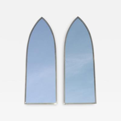 Gabriella Crespi 1950s Solid Brass Italian Arched Mirrors Gabriela Crespi Style