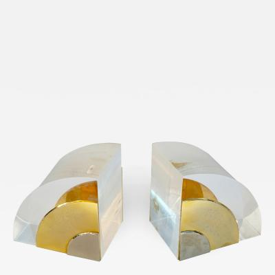 Gabriella Crespi 1970 Italian Pair of Brass Nickel Lucite Bookends Attributed to Gabriella Crespi