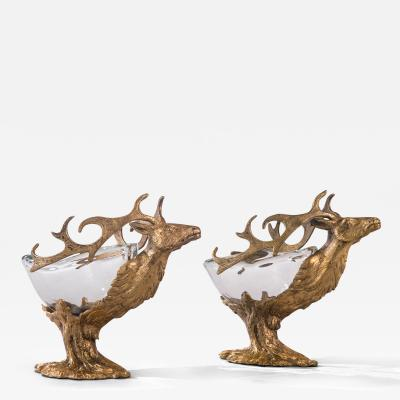 Gabriella Crespi A Pair of Exceptional Gilt Brass and Murano Glass Stag Bowls