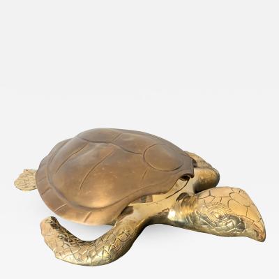 Gabriella Crespi Brass Turtle Sculpture Jewelry Box