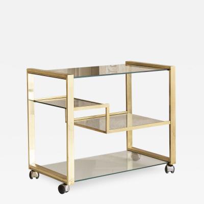 Gabriella Crespi Brass and Glass Bar Cart