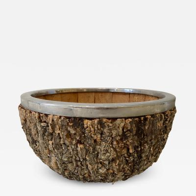 Gabriella Crespi Enormous Gabriella Crespi Bark and Chrome Center Bowl