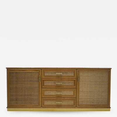 Gabriella Crespi French Mid century brass and bamboo sideboard 1970s