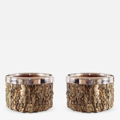 Gabriella Crespi Gabriella Crespi Pair of Cork and Chrome Bowls with Glass Inserts 1970s
