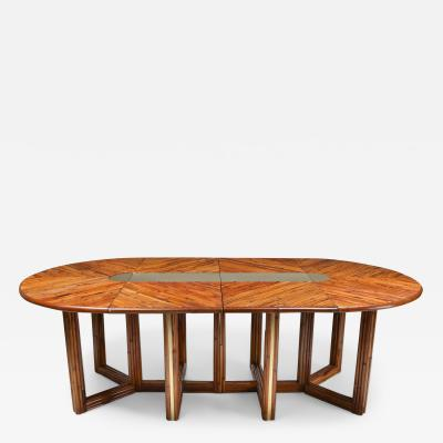 Gabriella Crespi Gabriella Crespi Style Adjustable Dining Table in Rattan 1970s