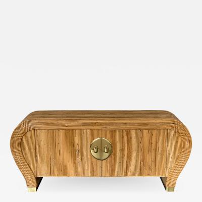 Gabriella Crespi Gabriella Crespi Style Bamboo and Brass Waterfall Sideboard Cabinet