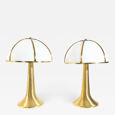 Gabriella Crespi Gabriella Crespi pair of Fungo brushed brass and Perspex table lamp