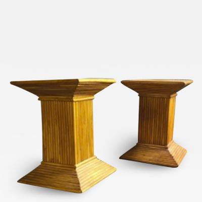Gabriella Crespi Gabriella Crespi style pair of bamboo side or coffee table