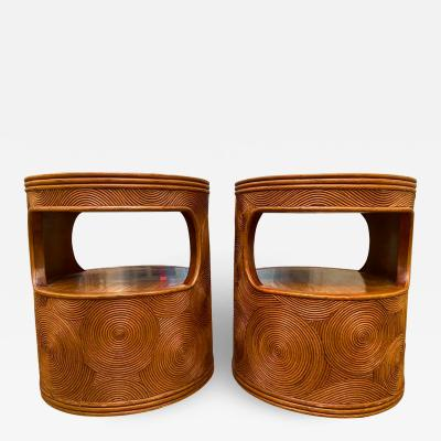 Gabriella Crespi Pair Of Mid Century Pencil Rattan Style Side Tables After Gabriella Crespi