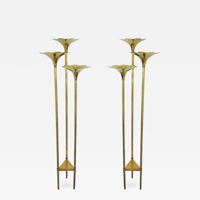 Gabriella Crespi Pair of Mid Century Modern Brass Floor Lamps Gabriella Crespi Style Italy 1960s