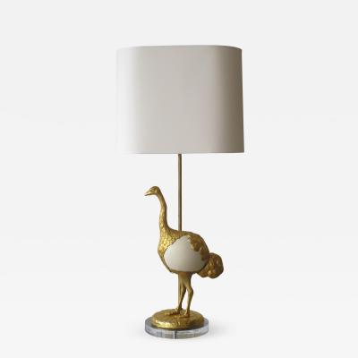 Gabriella Crespi Struzzi Table Lamp in Gilt Metal and Ostrich Egg