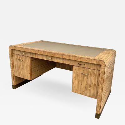 Gabriella Crespi Stunning Pedestal Desk in Reeded Bamboo Brass and a Leather Top
