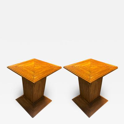 Gabriella Crespi Style of Gabriella Crespi pair of bamboo side table