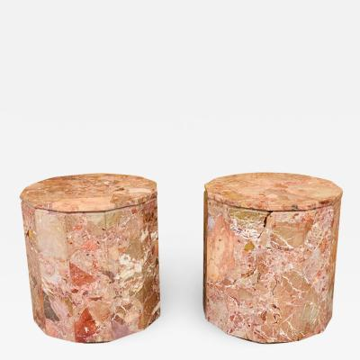 Gae Aulenti EXCEPTIONAL PAIR OF MODERNIST ROUGE MARBLE END TABLES