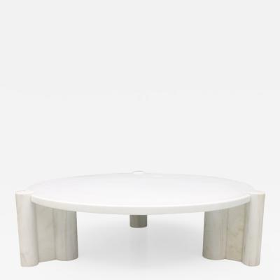 Gae Aulenti Very Rare Circular Coffee Table in White Marble by Gae Aulenti Knoll 1965