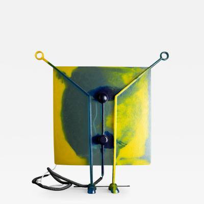 Gaetano Pesce Gel Resin and Metal Yellow and Blue Lamp on Feet