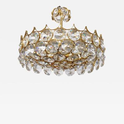 Gaetano Sciolari 1960s Gilt brass and Crystal Pendant Chandelier by Sciolari for Palwa