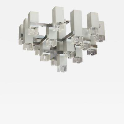 Gaetano Sciolari 1970s Cubist Chandelier by Gaetano Sciolari