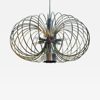 Gaetano Sciolari 1970s MCM Brass Bird Cage Chandelier by Sciolari with Nickel Accents