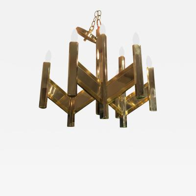 Gaetano Sciolari A Chrome and Brass Gaetano Sciolari Chandelier