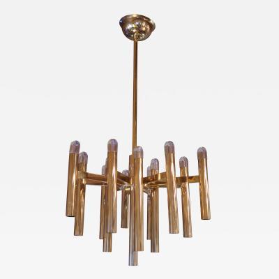 Gaetano Sciolari A Gilded Brass Ceiling Lamp by Gaetano Sciolari Italy 1970