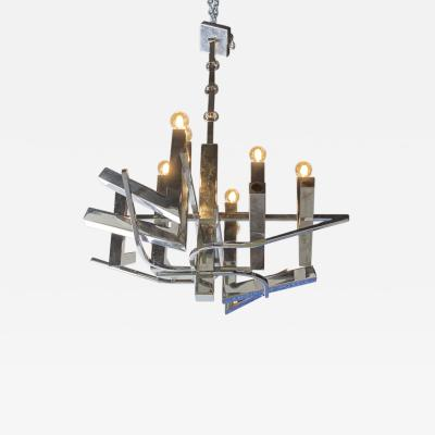Gaetano Sciolari A Large Polished Chrome ABSTRACT Chandelier Sciolari