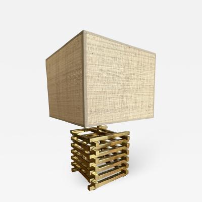 Gaetano Sciolari Brass Cage Lamp by Sciolari Italy 1970s