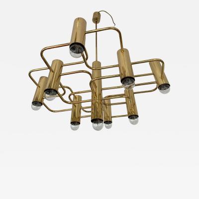 Gaetano Sciolari Brass Chandelier by Sciolari for Boulanger Belgium 1970s