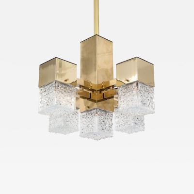 Gaetano Sciolari Brass Cubic Chandelier by Sciolari