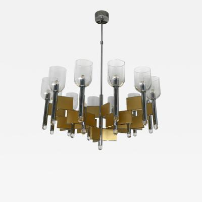 Gaetano Sciolari Chandelier Brass Chrome by Sciolari Italy 1970s
