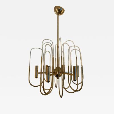 Gaetano Sciolari Chandelier Brass and Glass Astrolab by Sciolari Italy 1970s