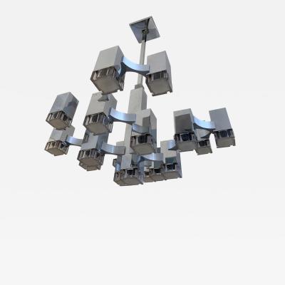 Gaetano Sciolari Chandelier Cubic by Sciolari Italy 1970s