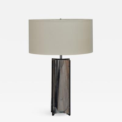 Gaetano Sciolari Chic Italian 70s Chrome Lamp with Custom Drum Shade by Gaetano Sciolari