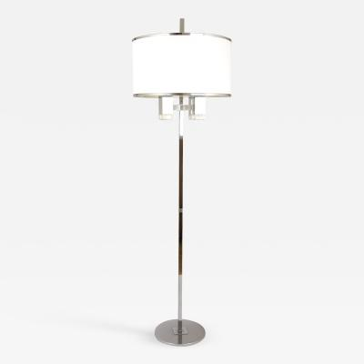 Gaetano Sciolari Chrome floor lamp with fabric shade by Gaetano Sciolari 1970s
