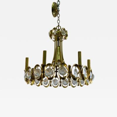 Gaetano Sciolari GAETANO SCIOLARI MODERNIST GOLDTONE AND GLASS PRISM CHANDELIER
