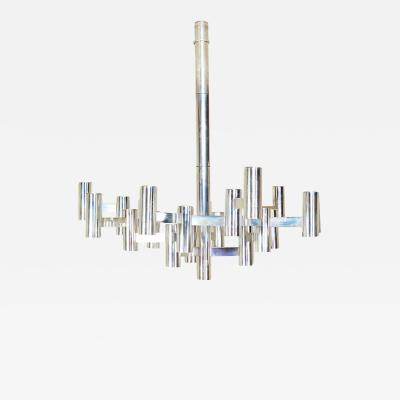 Gaetano Sciolari Gaetano SCIOLARI Huge Futuristic 22 Light Cubed Chandelier in Aluminum ITALY