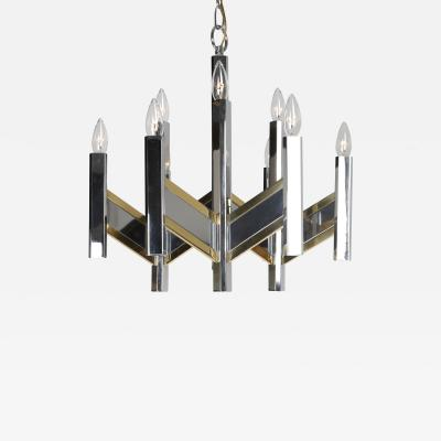 Gaetano Sciolari Gaetano Sciolari Chevron Chandelier in Brass and Chrome Circa 1960s
