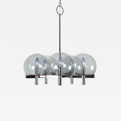 Gaetano Sciolari Gaetano Sciolari Chrome Chandelier with Five Smoked Glass Globes