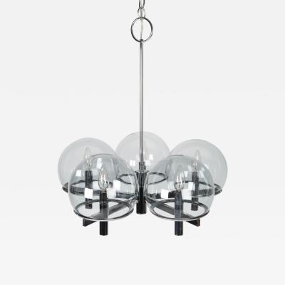 Gaetano Sciolari Gaetano Sciolari Chrome Chandelier with Five Smoked Glass Globes Circa 1970s