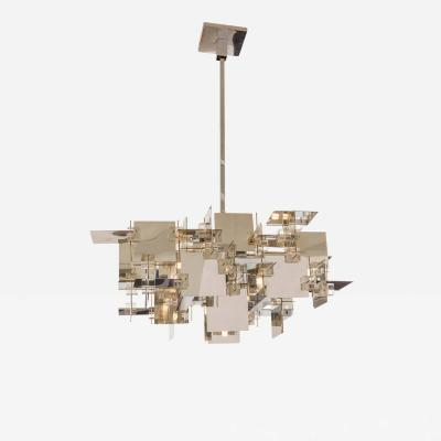 Gaetano Sciolari Gaetano Sciolari Chrome Panel and Lucite Cube Geometric Chandelier Italy 1960s