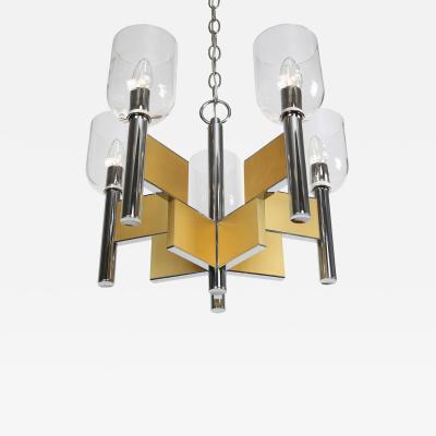 Gaetano Sciolari Gaetano Sciolari Chrome and Brass Chandelier With Glass Shades