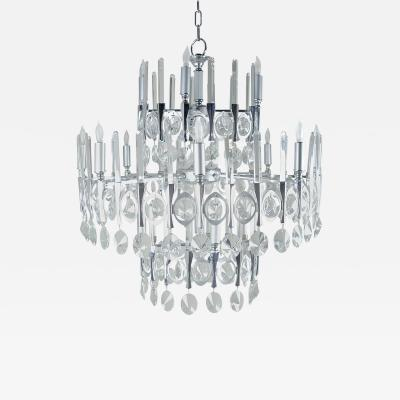 Gaetano Sciolari Gaetano Sciolari Large Three Tier Modernist Crystal Chandelier Italy 1960s