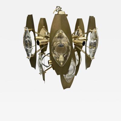 Gaetano Sciolari Gaetano Sciolari Mid Century Modern Brass and Glass Chandelier circa 1960